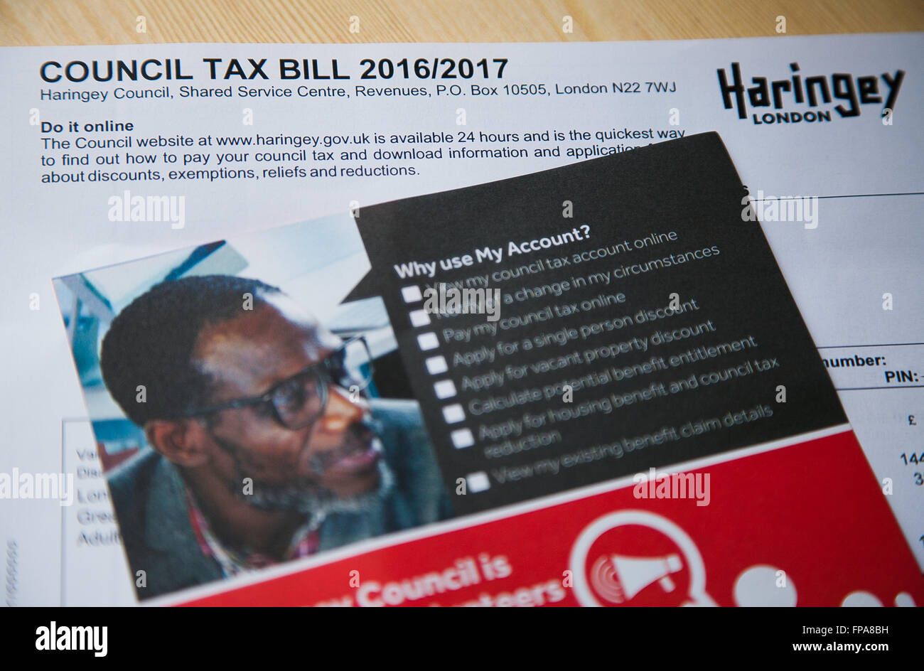 Haringey residents starts to receive their council tax bills for 2016/17. - Stock Image
