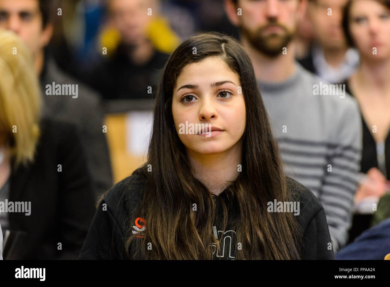 Berlin, Germany. 18th Mar, 2016. The Syrian swimmer Ysra Mardini of Spandau 04 participates in a press conference - Stock Image