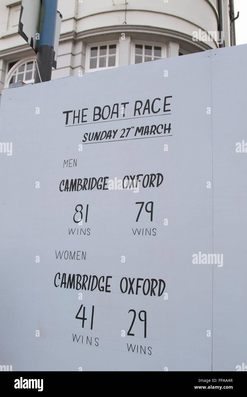 Putney London,UK. 18th March 2016. The winning records for mens and women's rowing are shown on a board outside Stock Photo