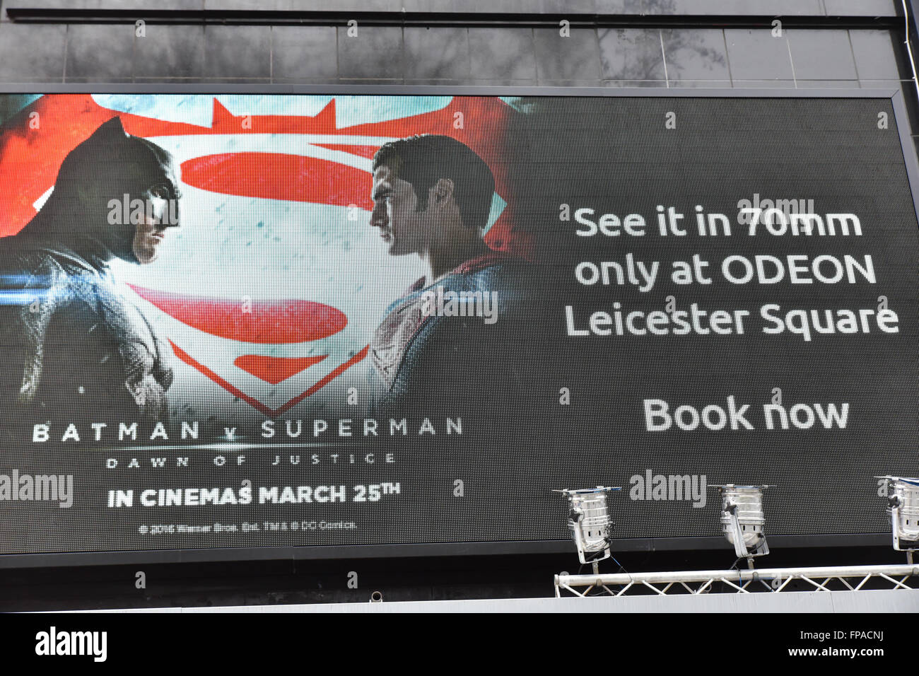 Leicester Square, London, UK. 18th March 2016. Batman v Superman film which is released next Friday is to be shown - Stock Image