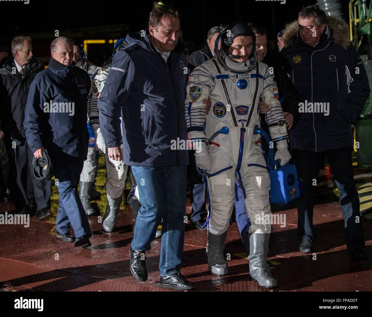 Baikonur, Kazakhstan. 18th Mar, 2016. Crew member of Expedition 47/48, Roscosmos cosmonaut Alexei Ovchinin in a - Stock Image