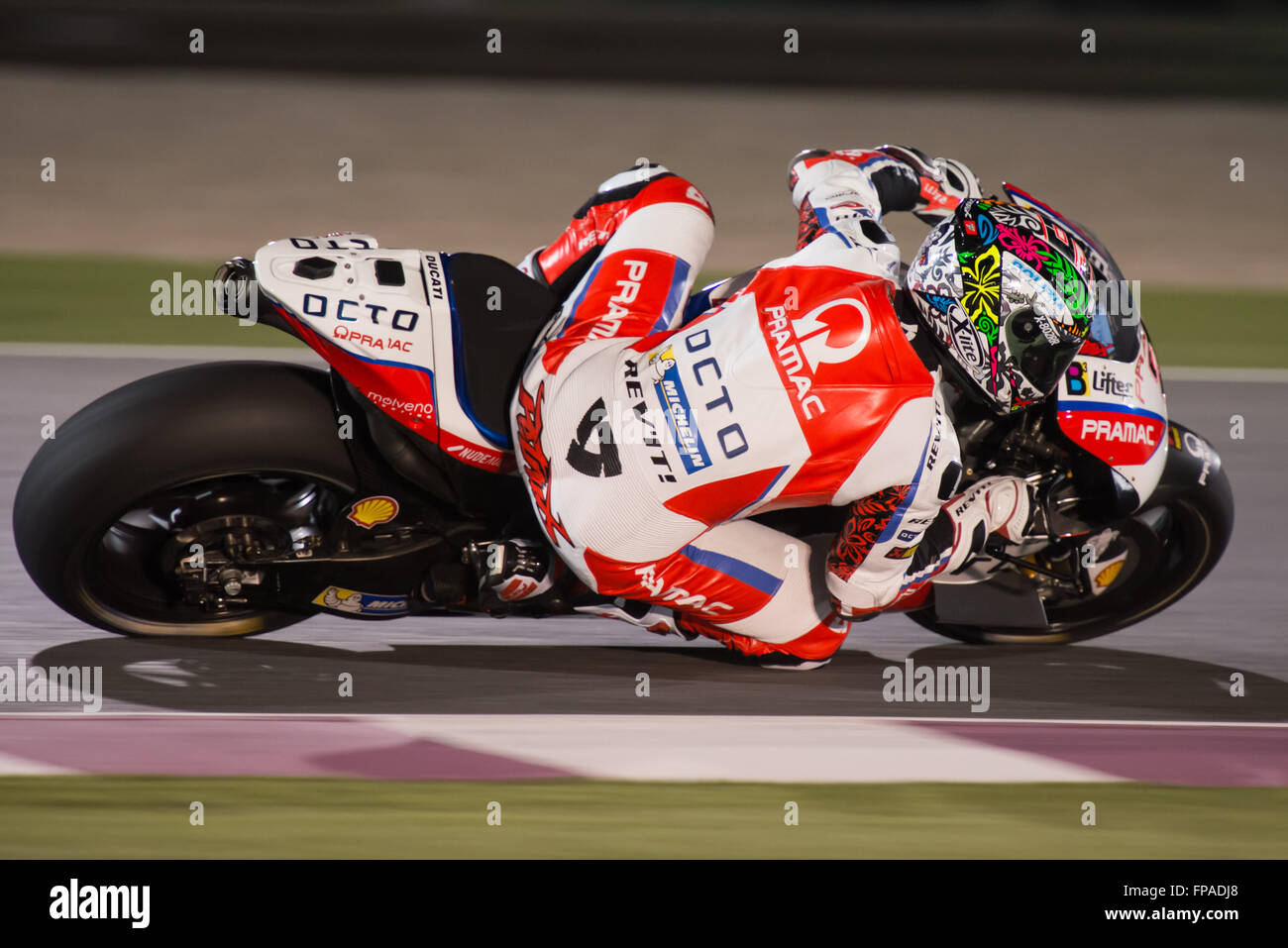 Losail International Circuit, Qatar. 18th March 2016.  Danilo Petrucci during MotoGP Free Practice session 2 of - Stock Image
