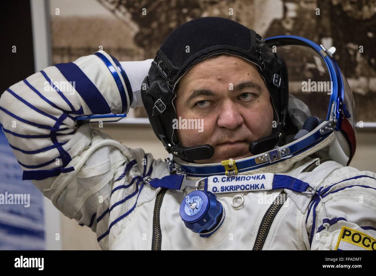 Baikonur, Kazakhstan. 18th Mar, 2016. Crew member of Expedition 47/48, Roscosmos cosmonaut Oleg Skripochka looks - Stock Image
