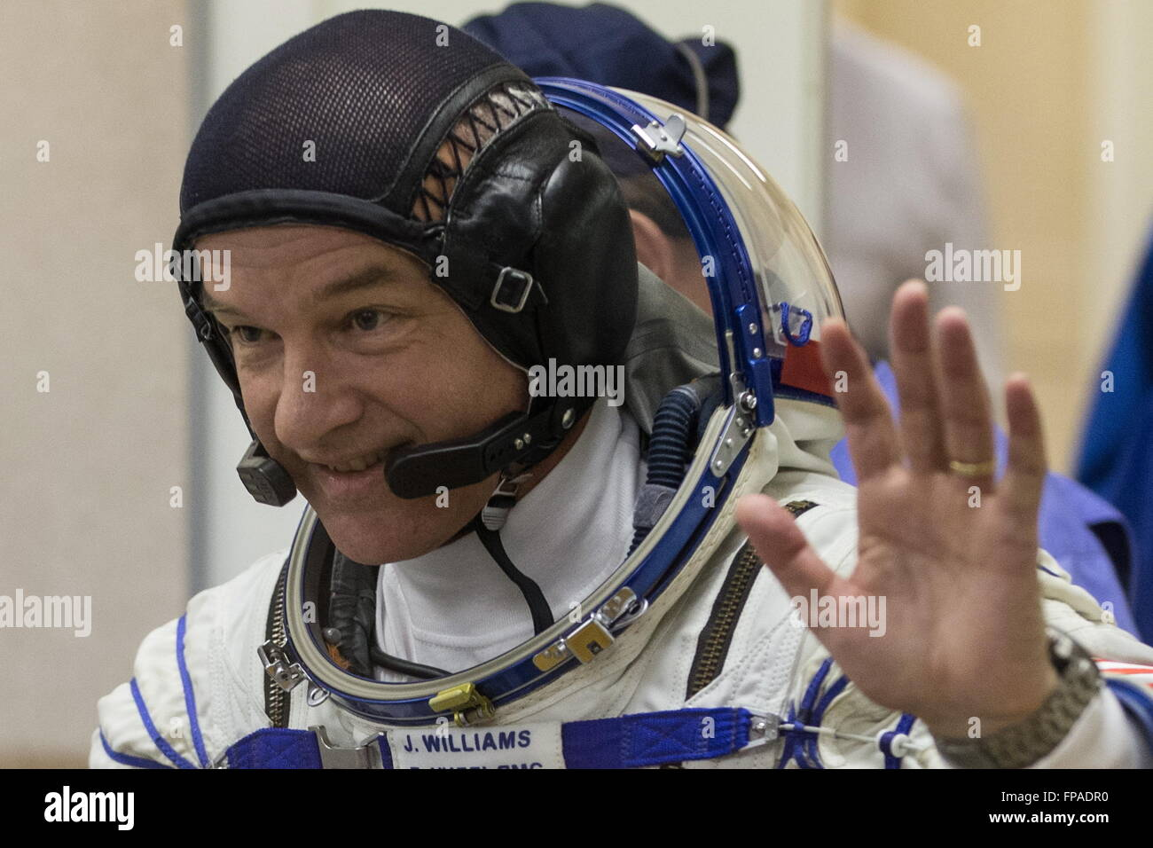 Baikonur, Kazakhstan. 18th Mar, 2016. Crew member of Expedition 47/48, NASA astronaut Jeffrey Jeff Williams waves - Stock Image