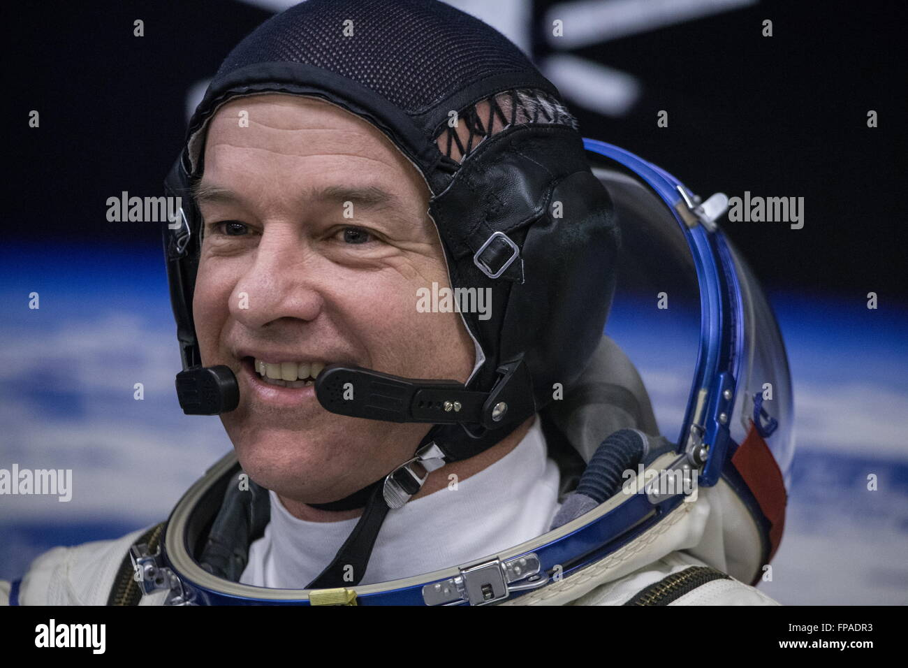 Baikonur, Kazakhstan. 18th Mar, 2016. Crew member of Expedition 47/48, NASA astronaut Jeffrey Jeff Williams looks - Stock Image
