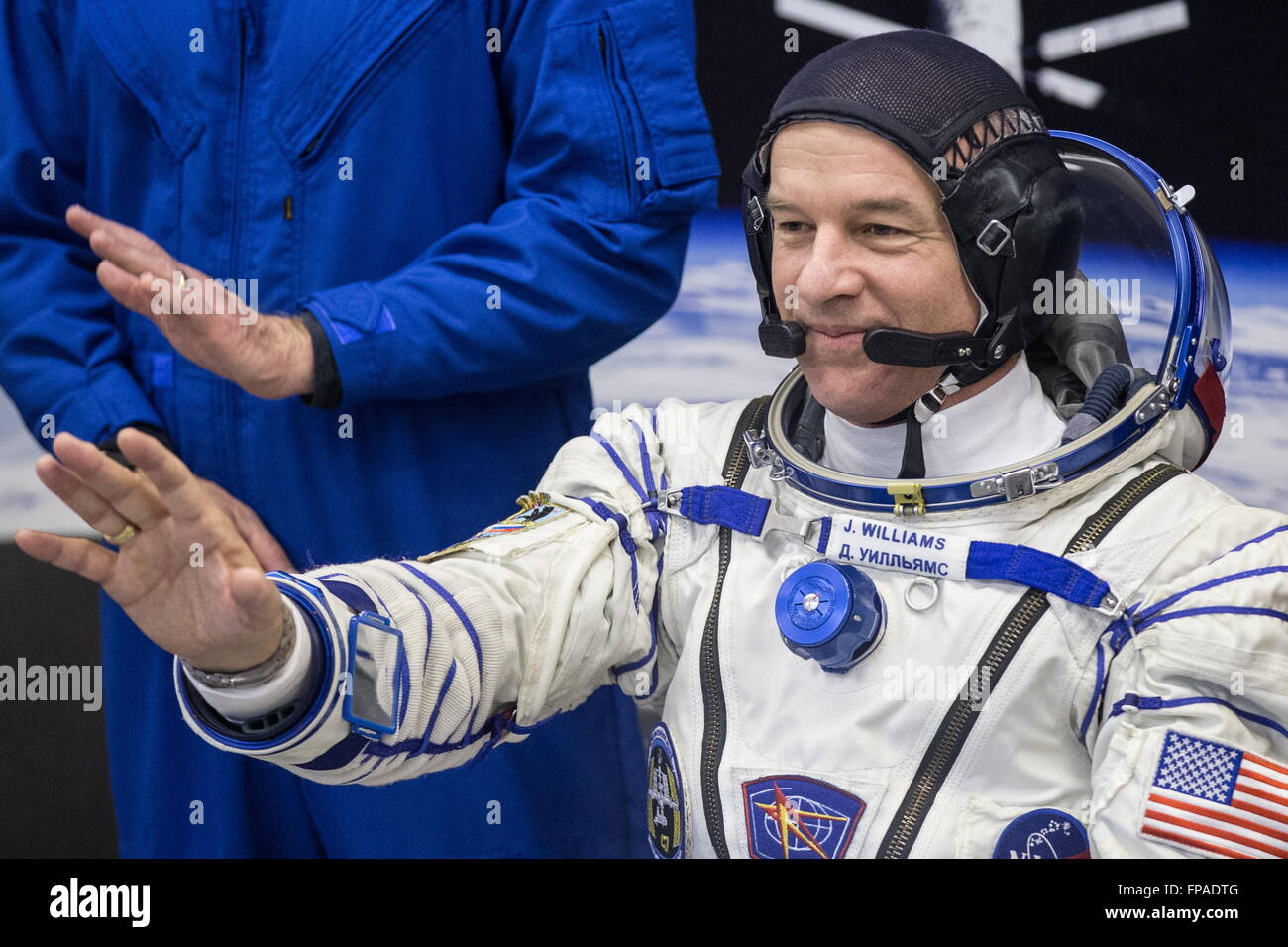 Baikonur, Kazakhstan. 18th Mar, 2016. Crew member of Expedition 47/48, NASA astronaut Jeffrey Jeff Williams gestures - Stock Image