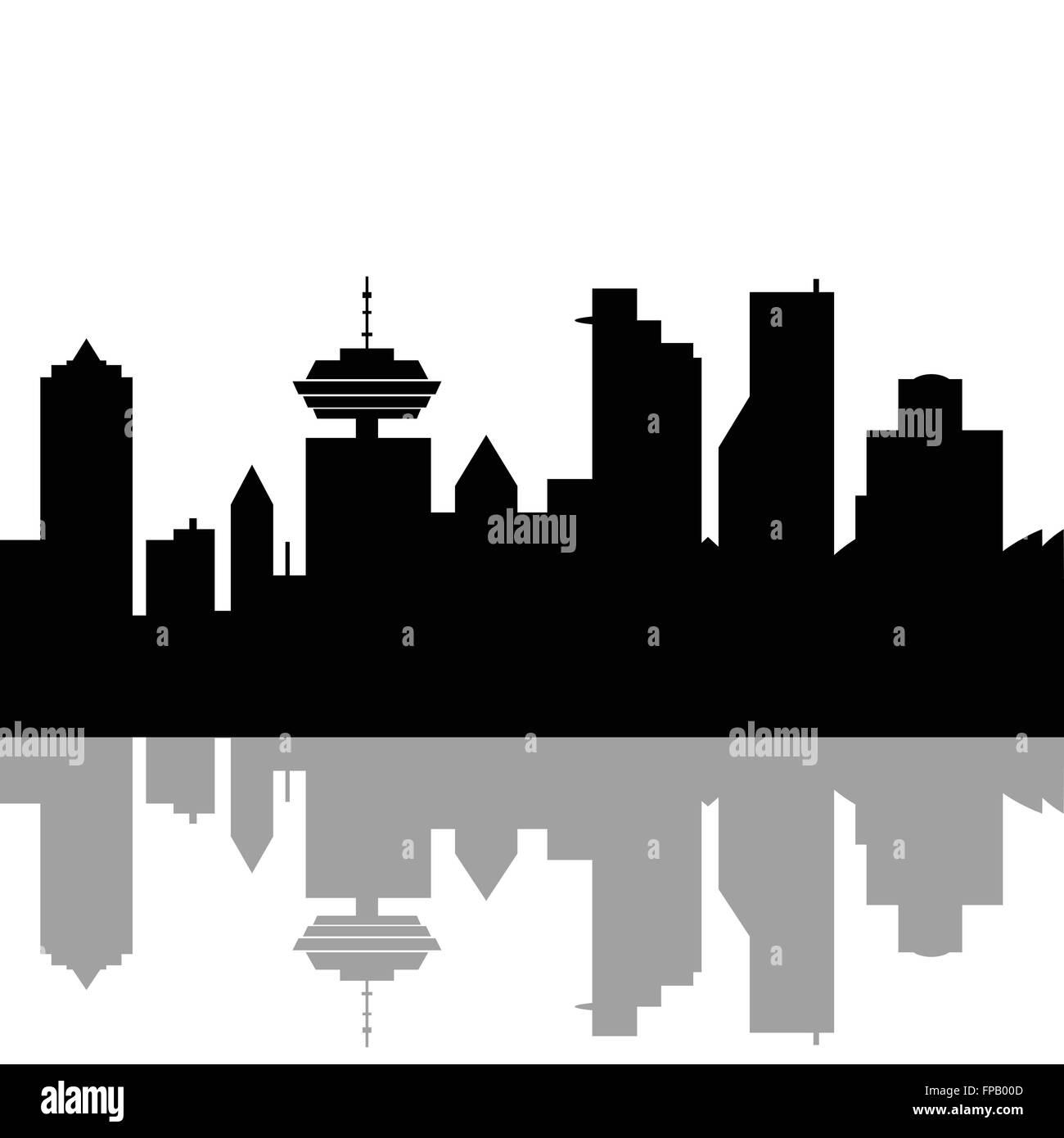 Vancouver Canada skyline - Stock Vector