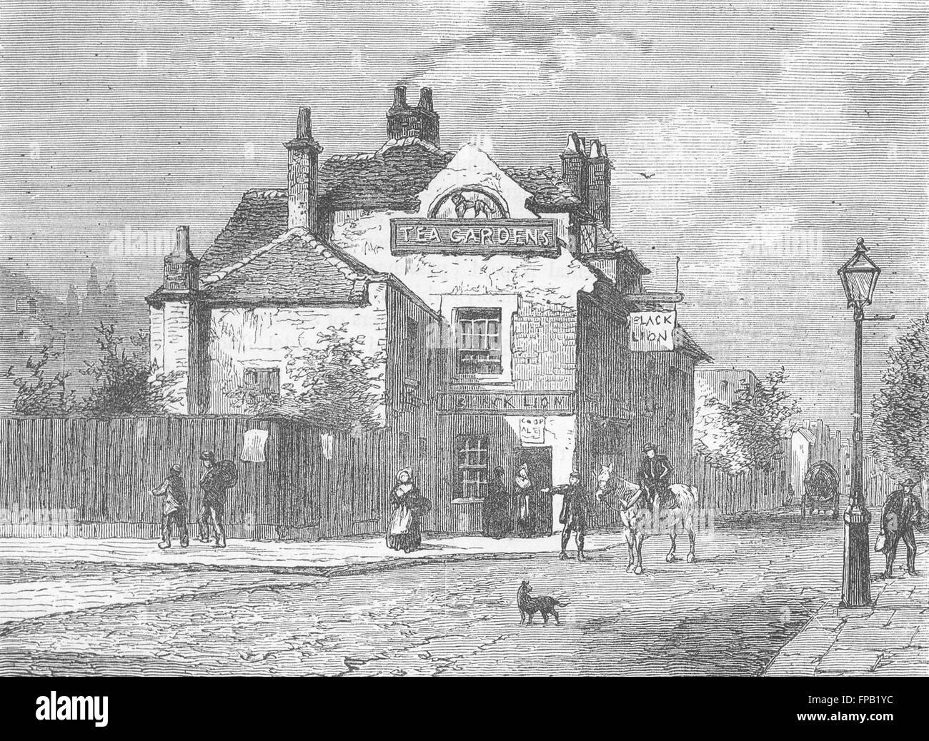 LONDON: Chelsea: Black Lion pub, Church St, in 1820, antique print 1880 - Stock Image