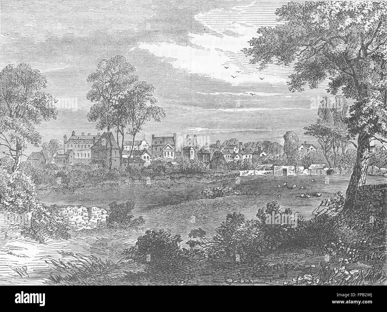 LONDON: Kensington: about 1750, antique print 1880 - Stock Image