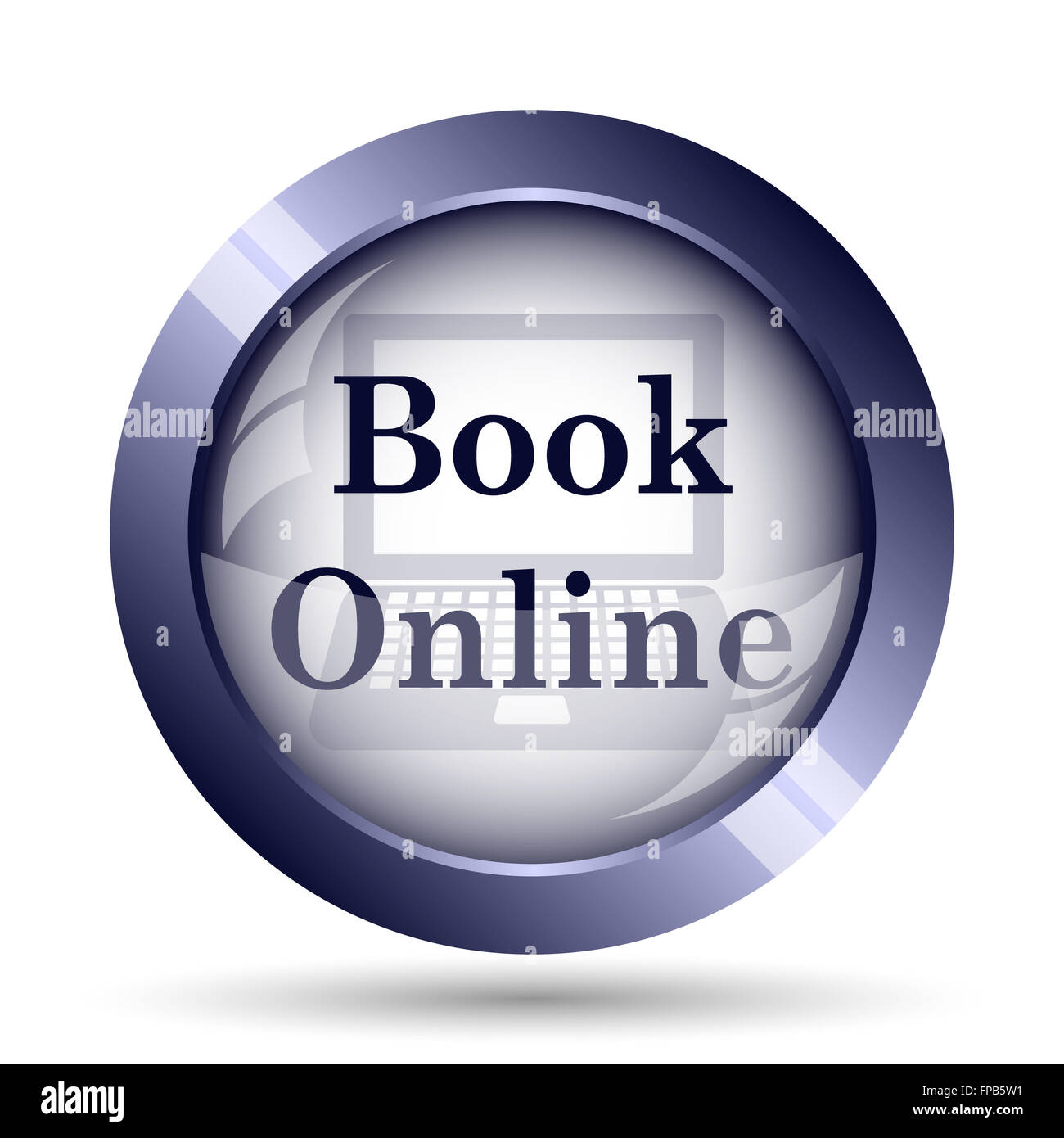 Book online icon. Internet button on white background. - Stock Image