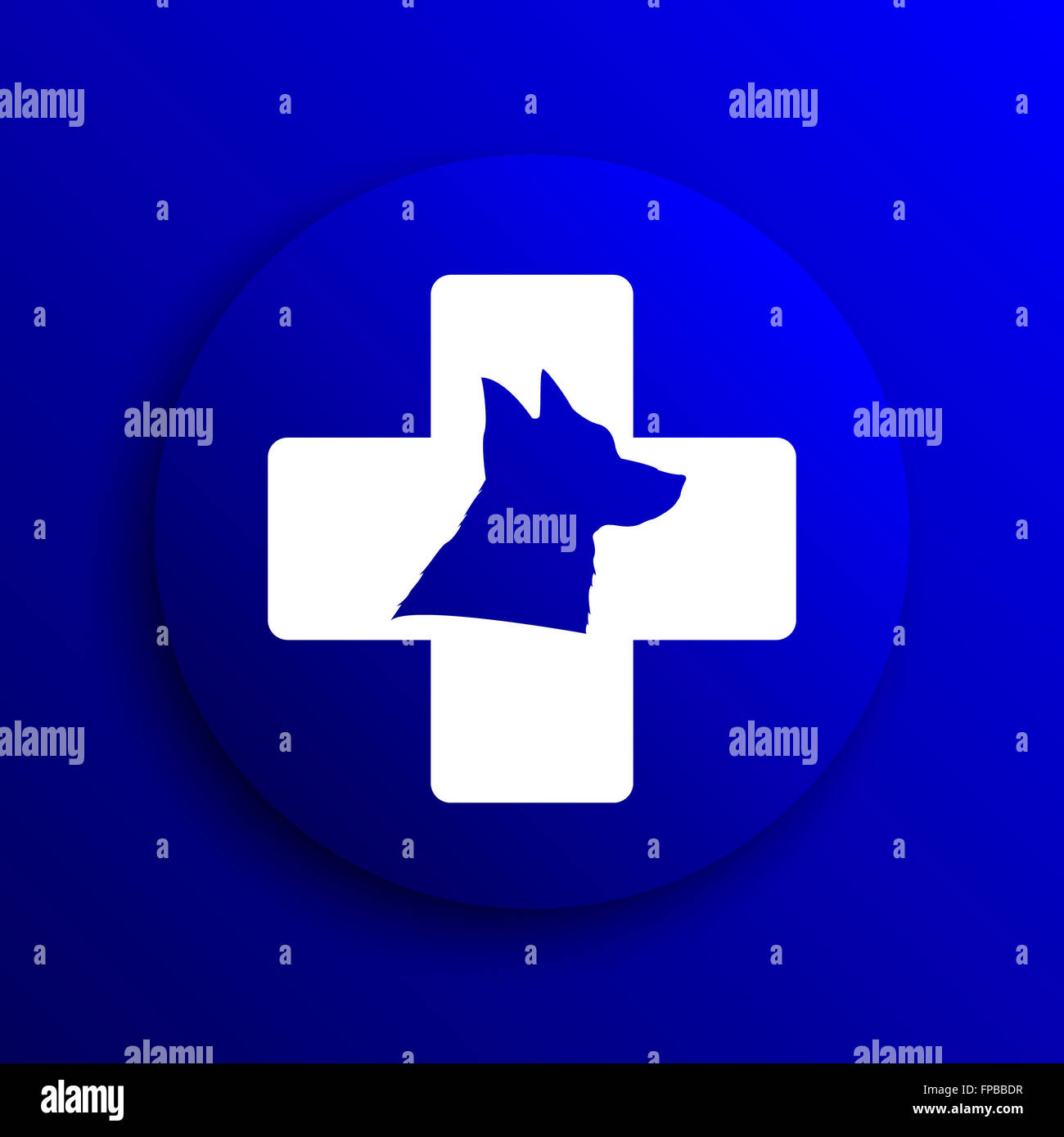 Veterinary icon. Internet button on blue background. - Stock Image