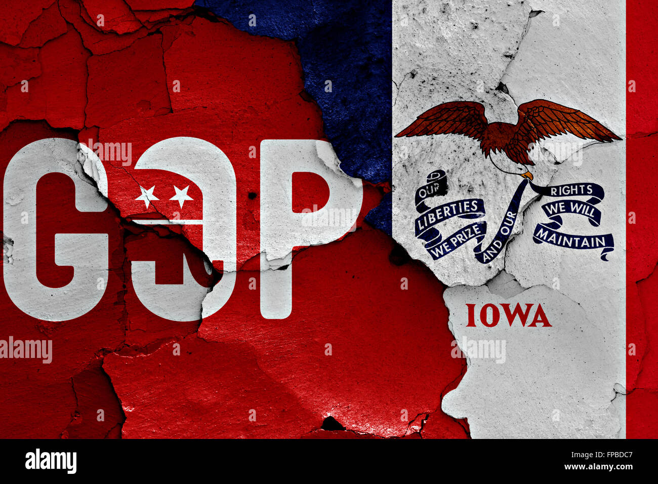 flag of GOP and Iowa painted on cracked wall Stock Photo