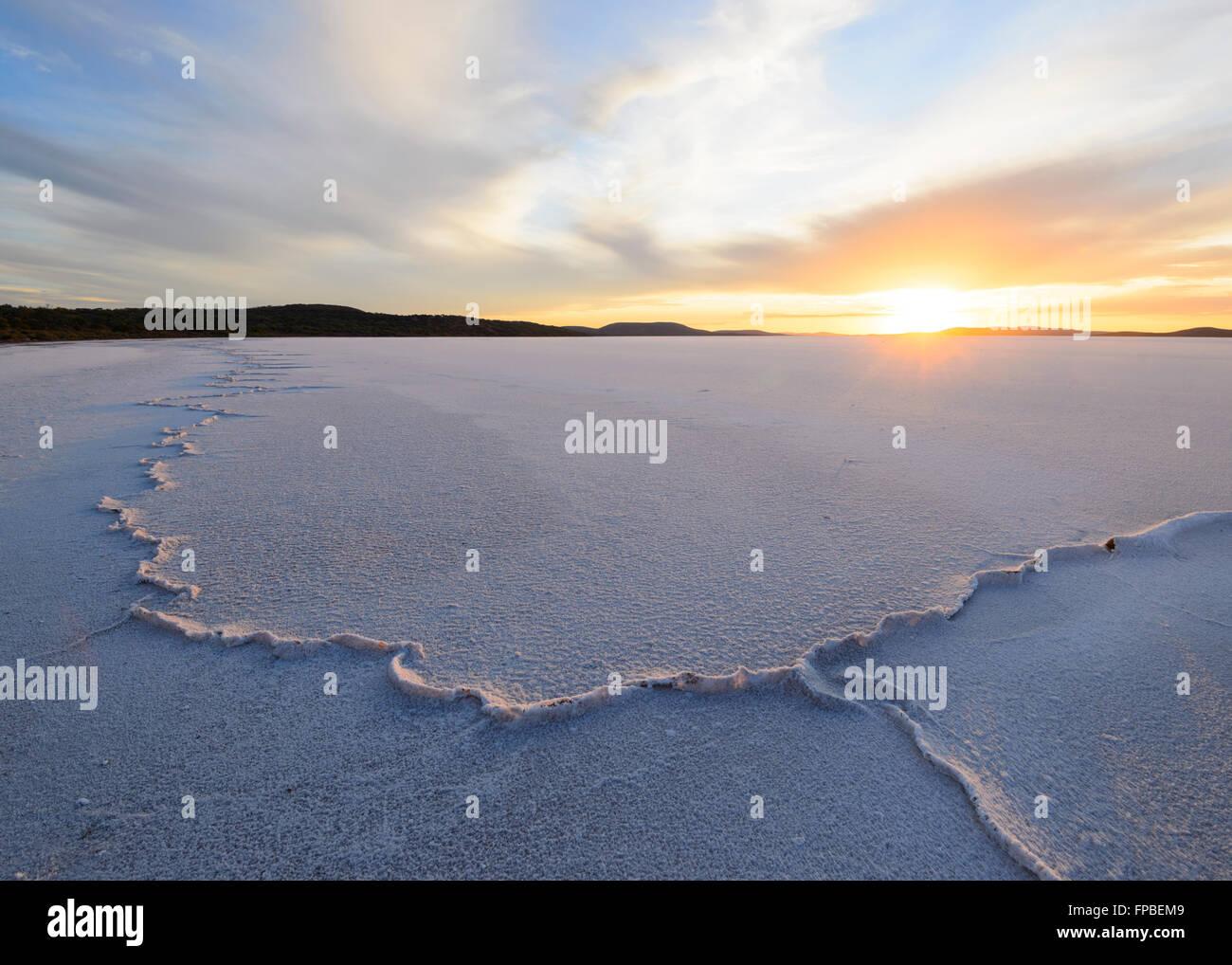 Sunrise over Lake Gairdner, South Australia, SA, Australia - Stock Image