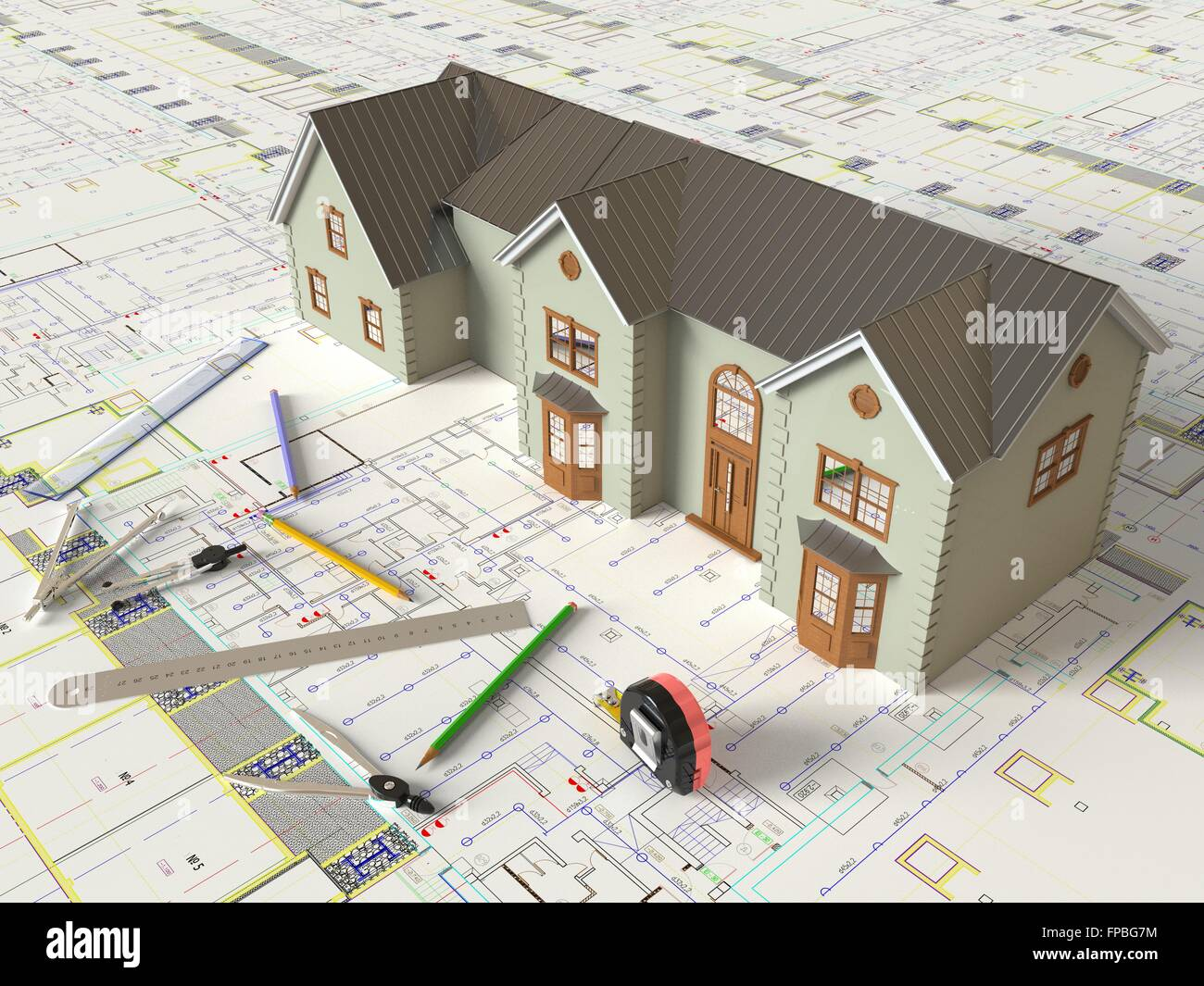 3d Rendering House Layout And Architectural Drawings Stock Photo