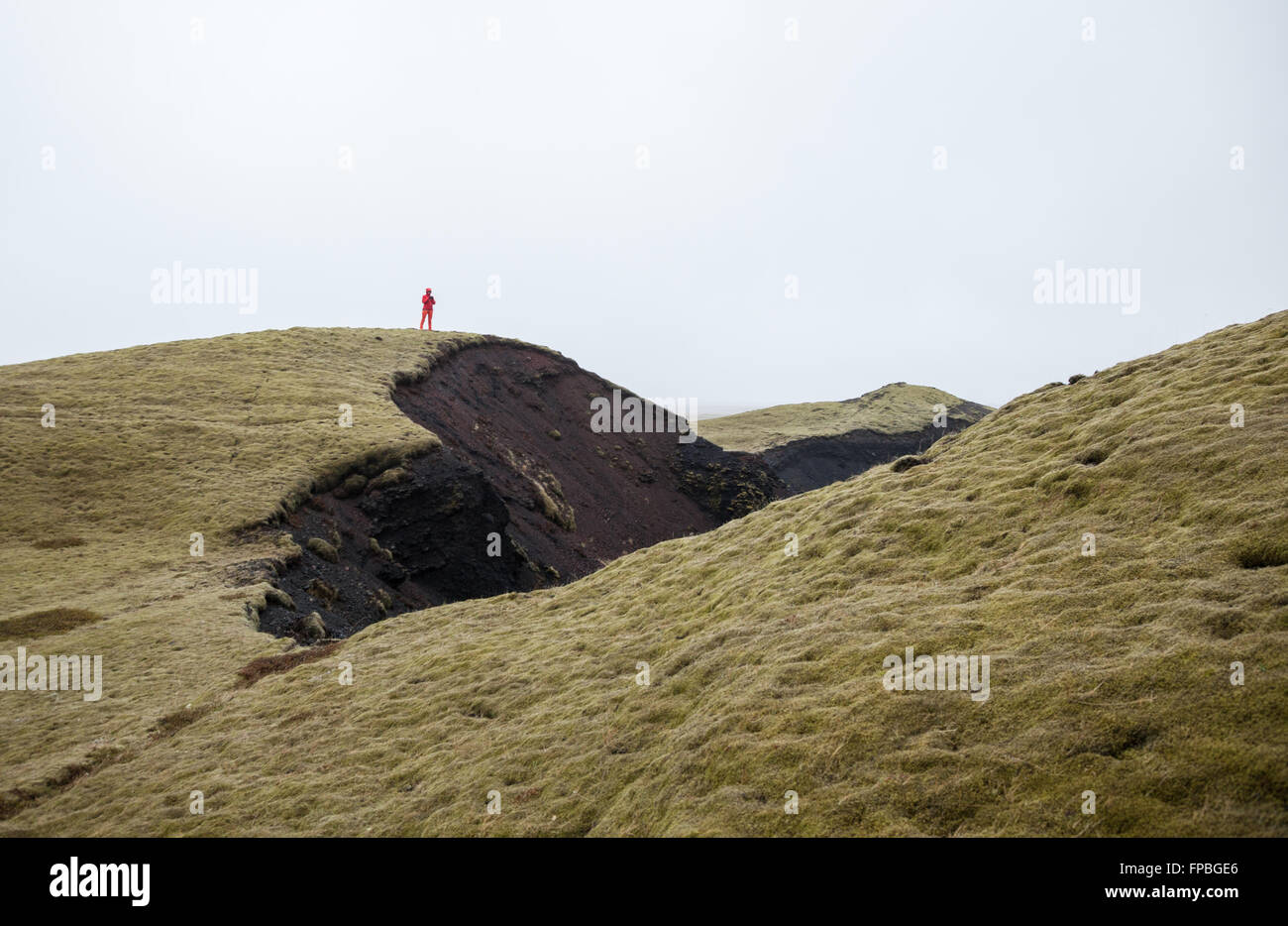 Walking on Lava field covered with moss, Kirkjubaejarklauste, Southern Iceland - Stock Image