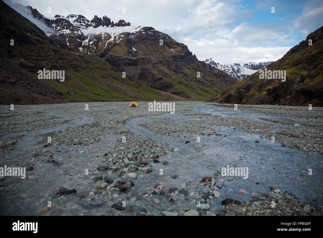 Back country camping in Iceland, Kjos, Skaftafell National Park, Iceland - Stock Image