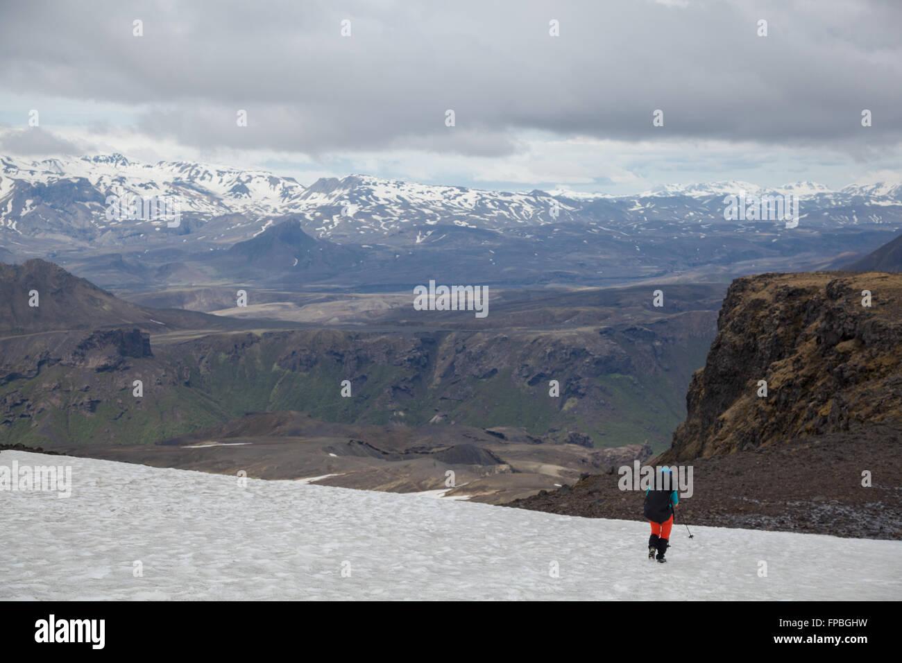 Hiking the Landmannalaugar trail, Fimmvörðuhás, Iceland - Stock Image