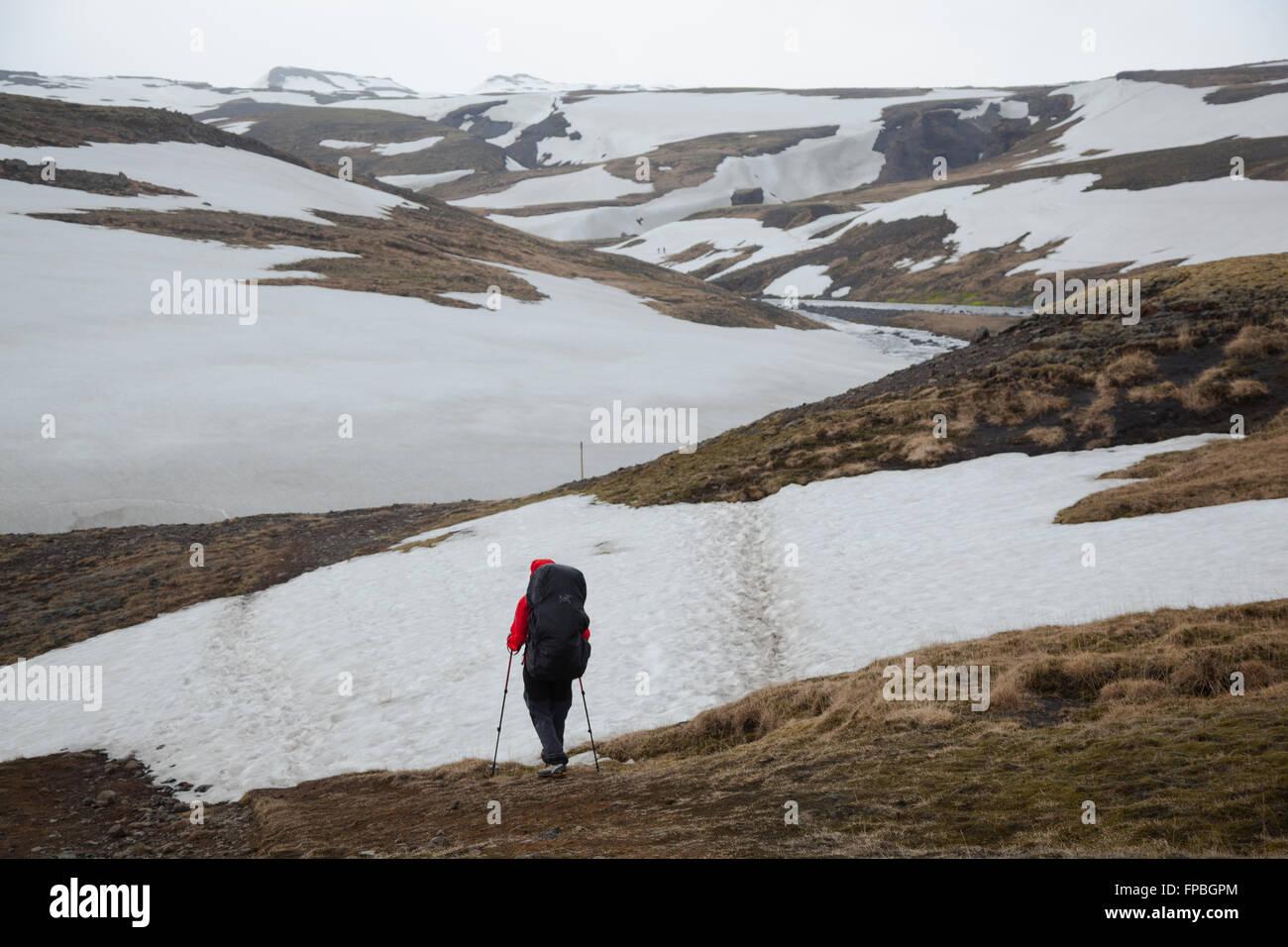 Hiking the Fimmvörðuháls trail, Iceland, Europe - Stock Image