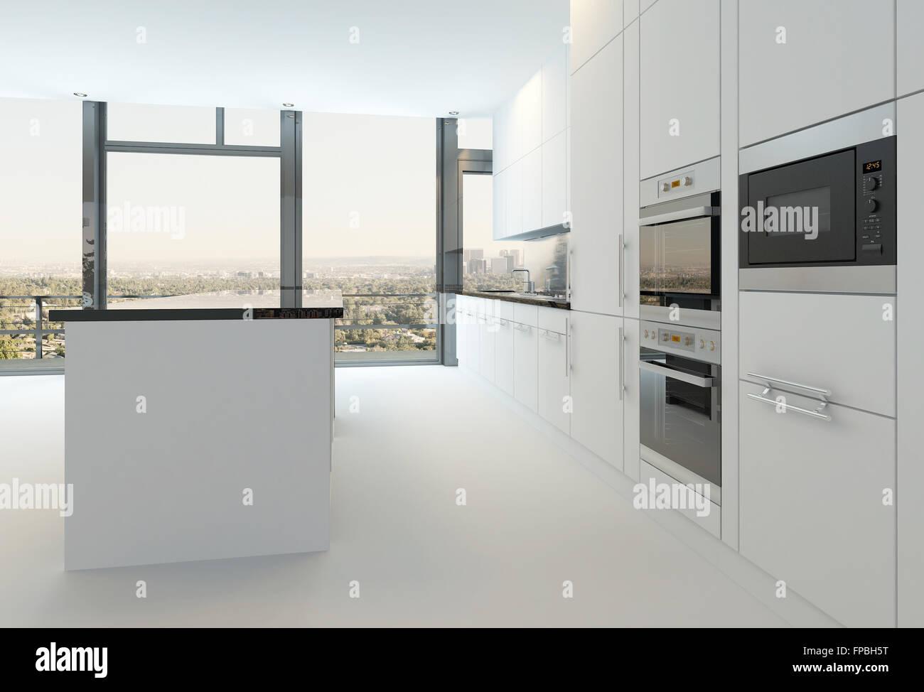 Luxury Modern Design White Kitchen Interior Stock Photo 99829236