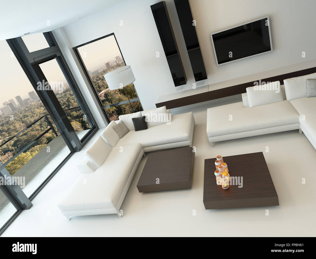 Aerial View Of Modern Design Luxury Living Room Interior With White