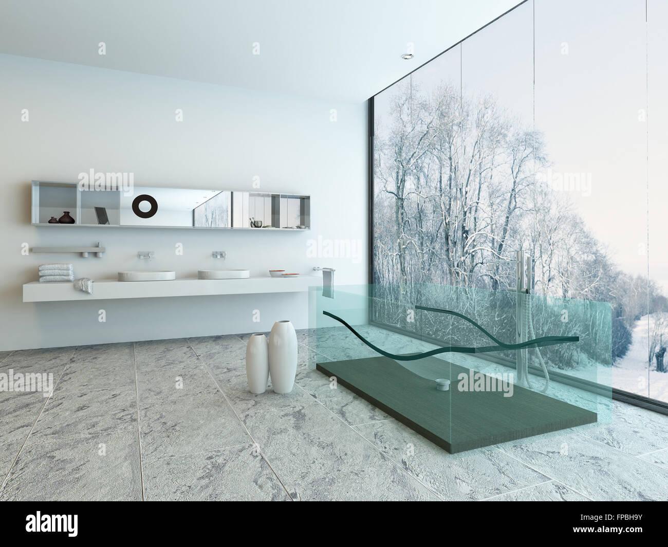 glass glas transparent bathtub tub bathroom Stock Photo: 99829351 ...