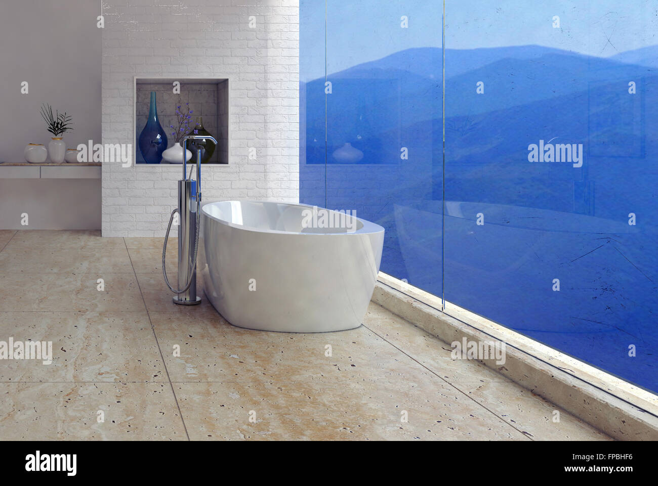Freestanding bathtub with a panoramic mountain view through a glass ...