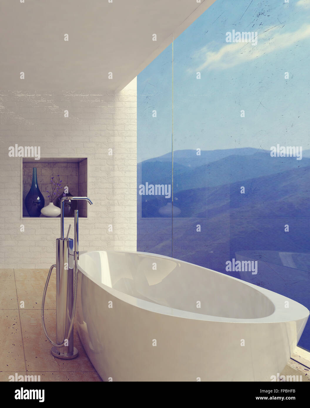 Large porcelain bathtub in spacious luxury bathroom decorated with ...