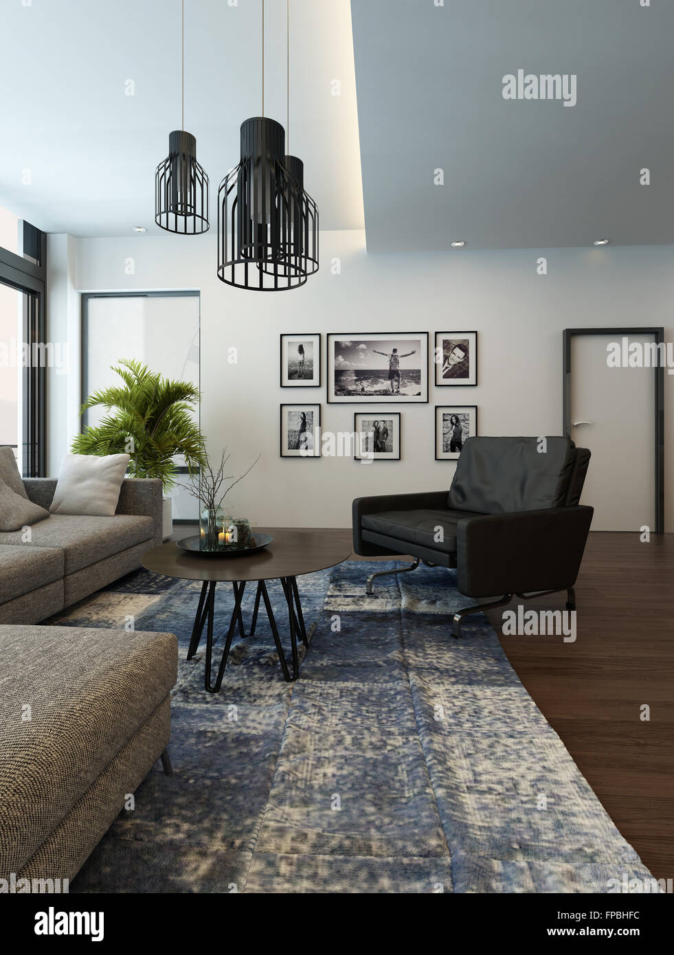 . Modern cozy living room interior with gray couch or sofa and carpet