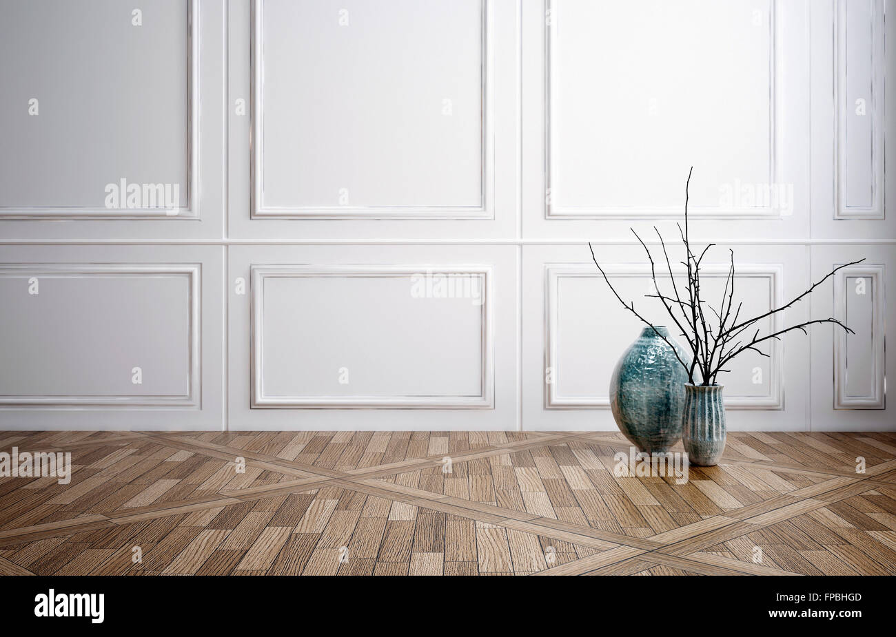 Superieur Classic Stylish Room Interior Decor With Wooden Wainscoting Panelling, A  Decorative Patterned Parquet Floor And Minimalist Vase