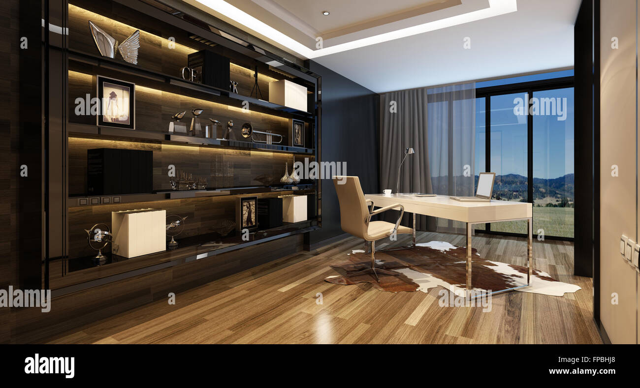Upmarket Home Office With A Modern Desk With A Panoramic View Through Glass  Windows And Large Shelving Cabinet Against The Wall, Lit By Overhead  Lighting.