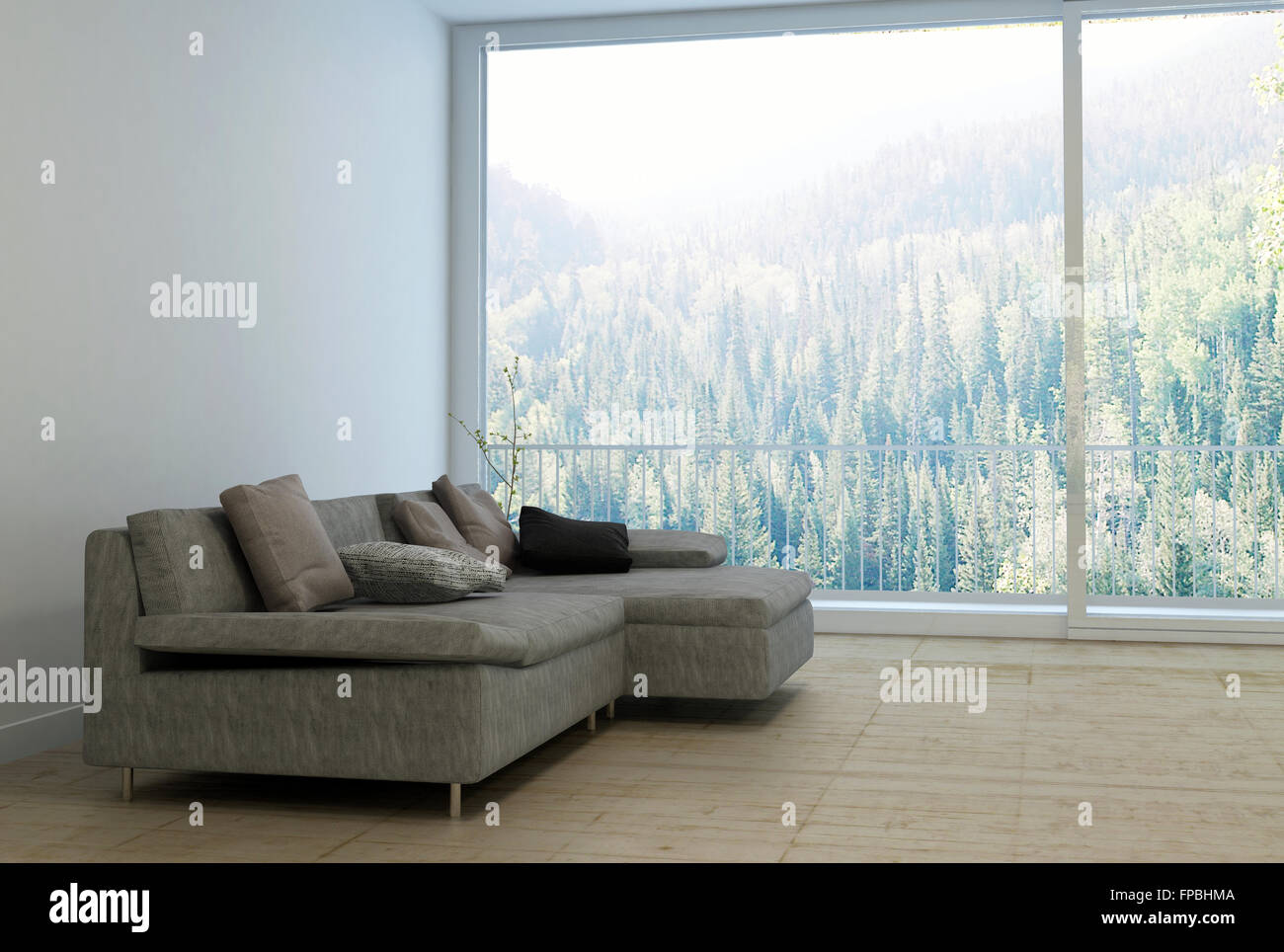 Comfortable Sectional Sofa With Cushions In Empty Spacious Living Room With  Large Window And View Overlooking Lush Forest Shrouded With Fog On Sunny Day