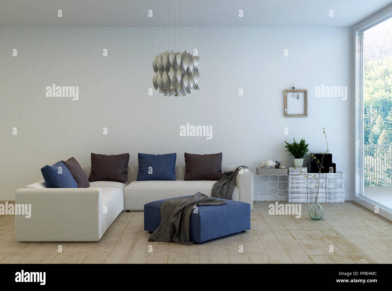 https www alamy com stock photo living room interior decorated with simple furnishings l shaped sofa 99829644 html