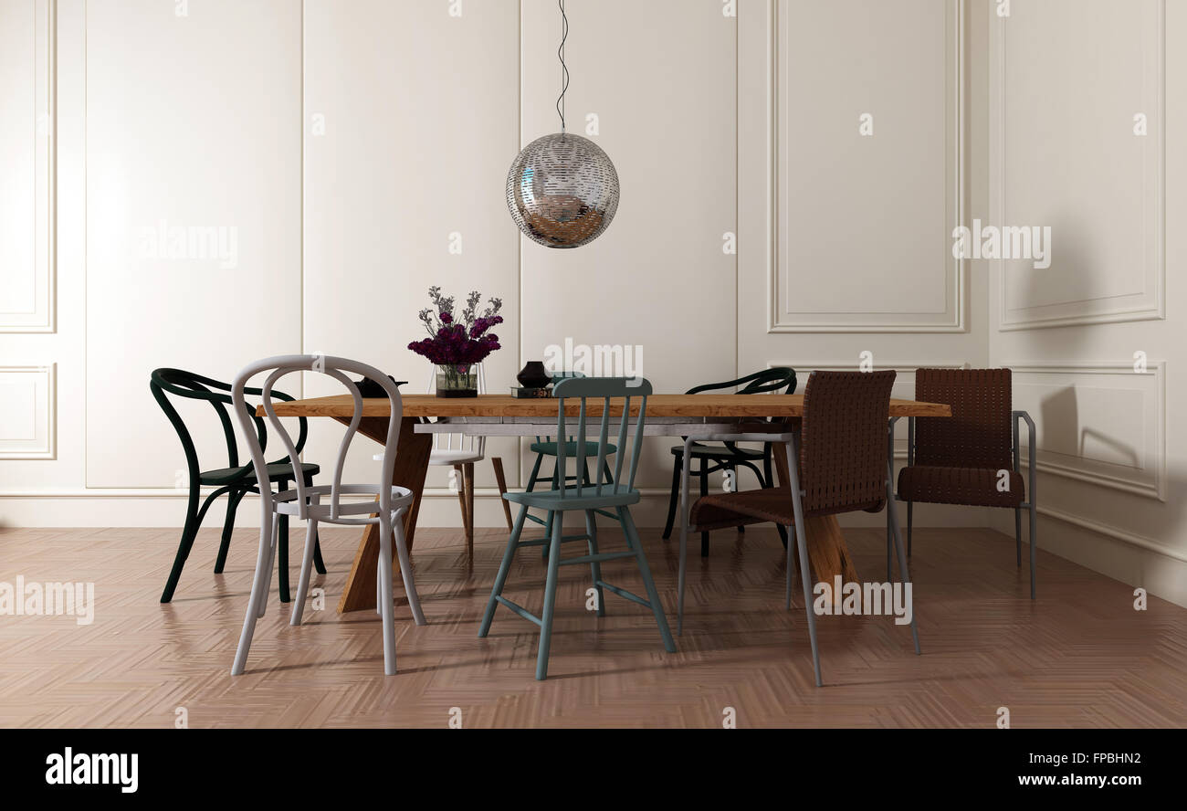 Superb Modern Dining Room Interior With Simple Wooden Table And Mismatched Chairs  With Disco Ball And Flower Vase   Contemporary Home Interior With White  Walls And ...