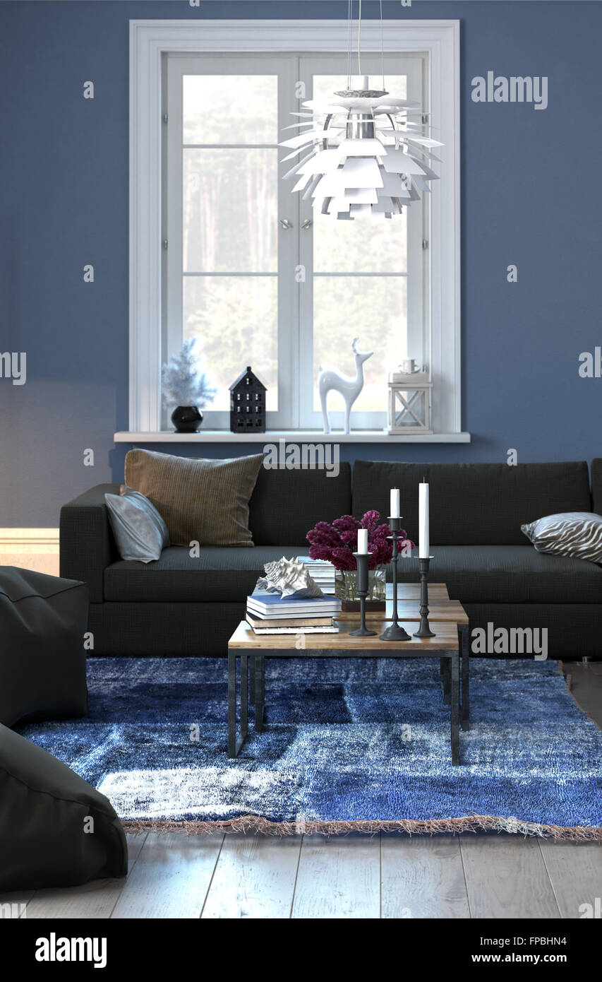Living room interior with blue walls white accents and wood floor tastefully decorated sitting room with comfortable sofa woven rug and sunny window