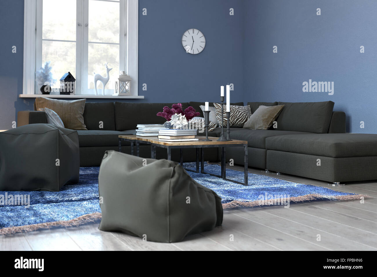 Cozy blue living room with sectional sofa and plush bean bag chairs modern blue sitting room tastefully decorated with woven rug clock and coffee table