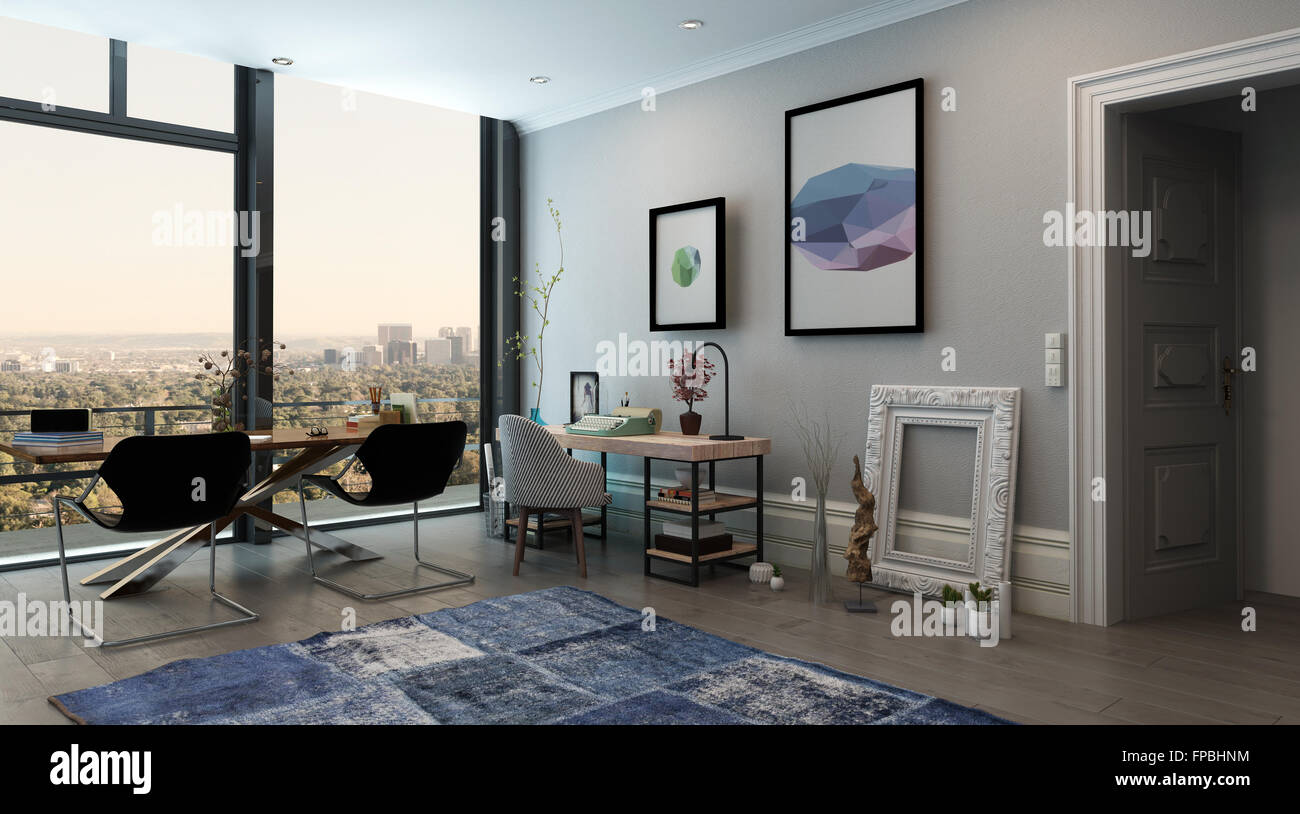 eclectic home office. Panoramic Interior Of Open Concept Office In Modern High Rise Apartment - Long Table With Chairs Eclectic Home Space View Through Window J