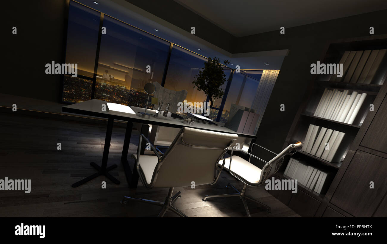 Luxury Home Office Interior At Night With Corner Panoramic ...