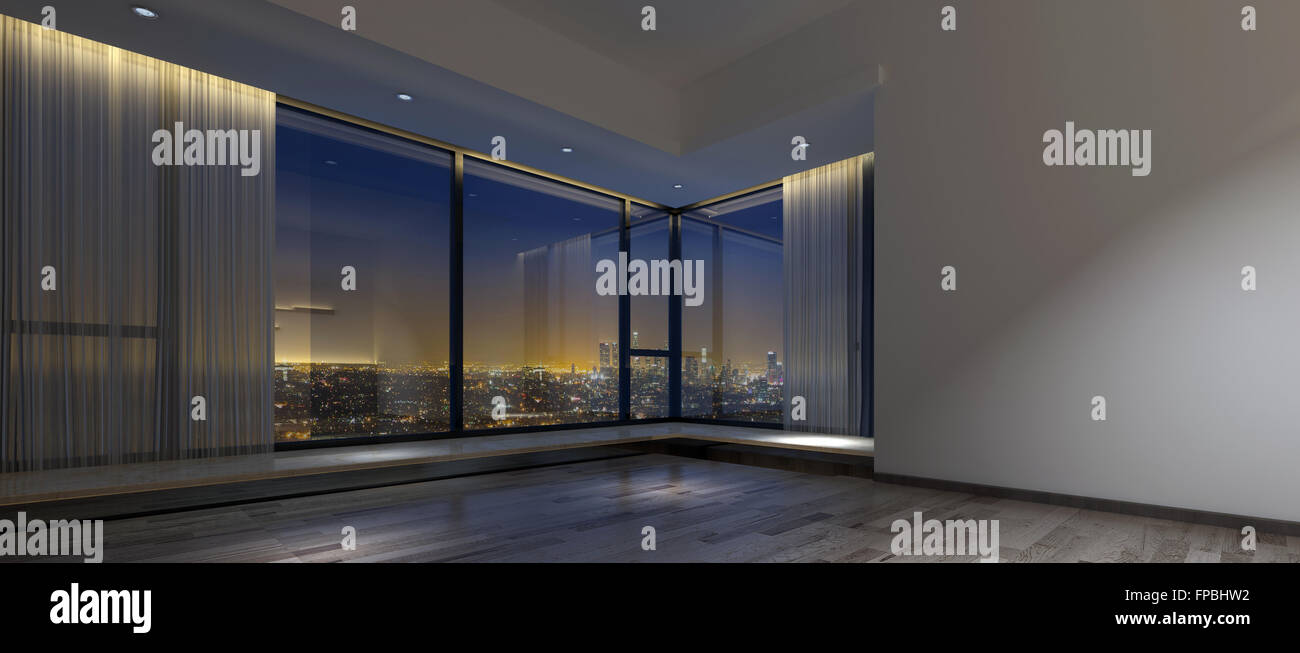 View Of Night Time Skyline From Inside Dim Empty Room With Hardwood Flooring Large Windows And Vertical Blinds 3d Rendering