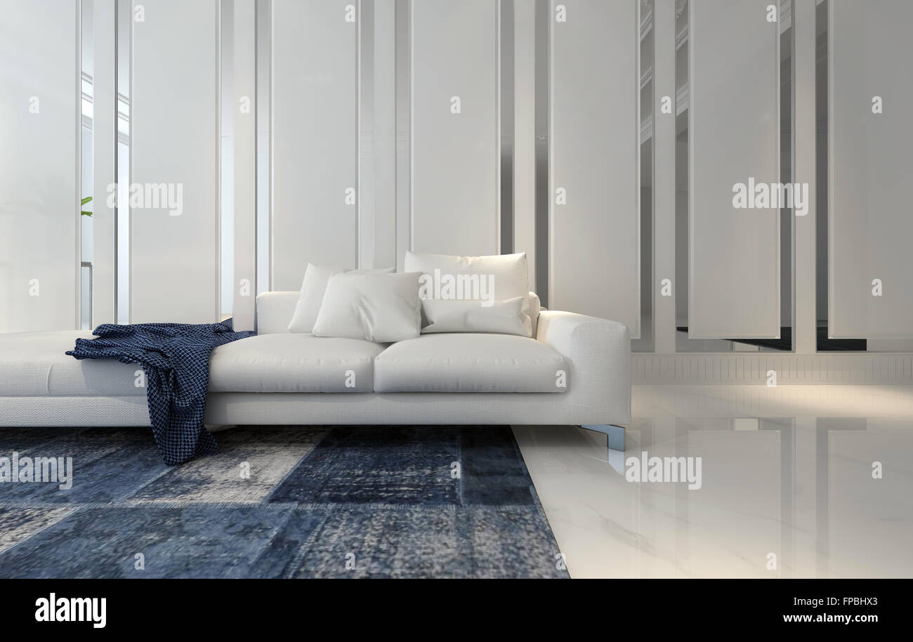 Plush White Sectional Sofa with Blue Throw Blanket and Area Rug in ...