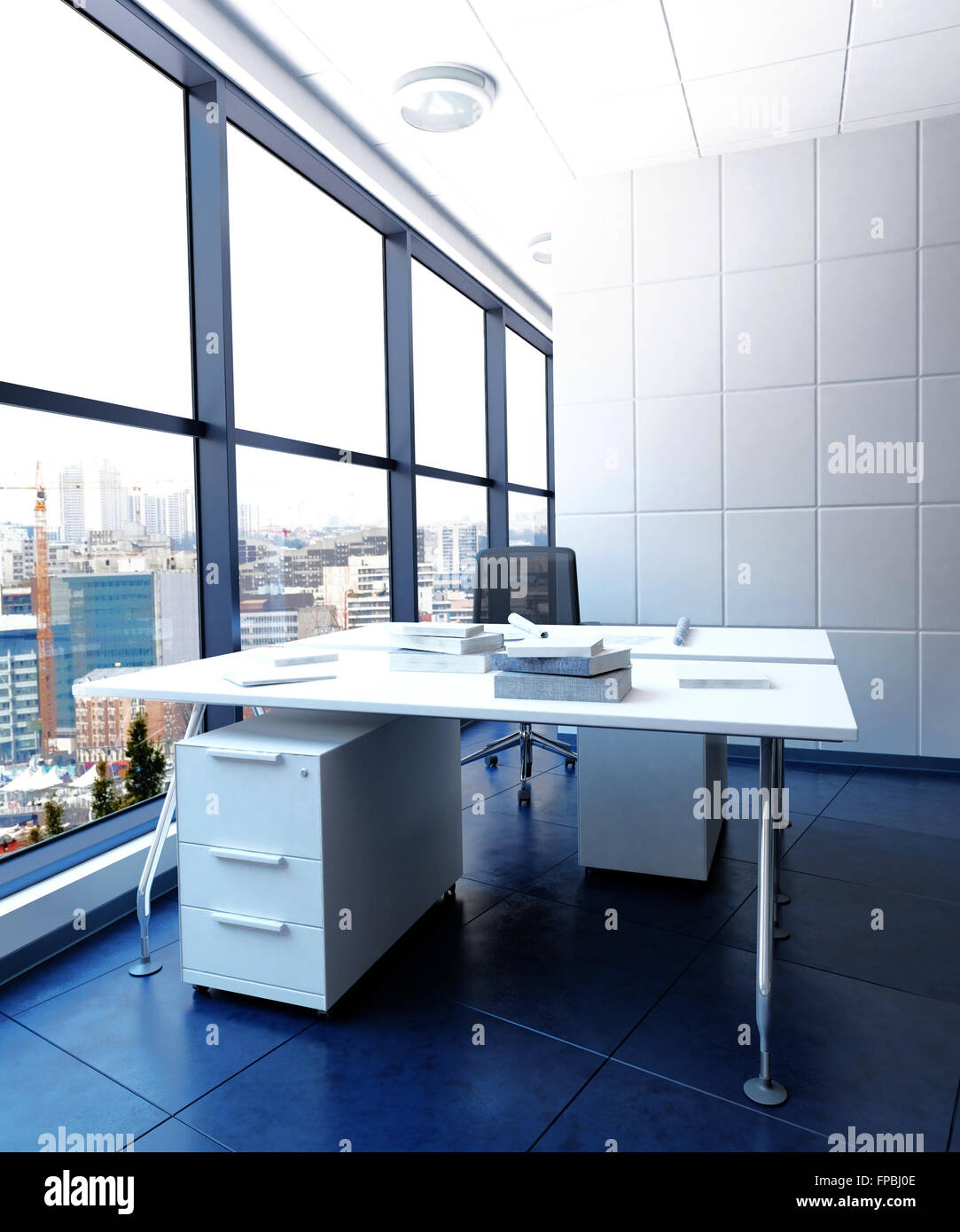 decorated office. Modern Work Station In Urban Office Building - White Desk And Drawers Sparsely Decorated High Rise Business With View Of City