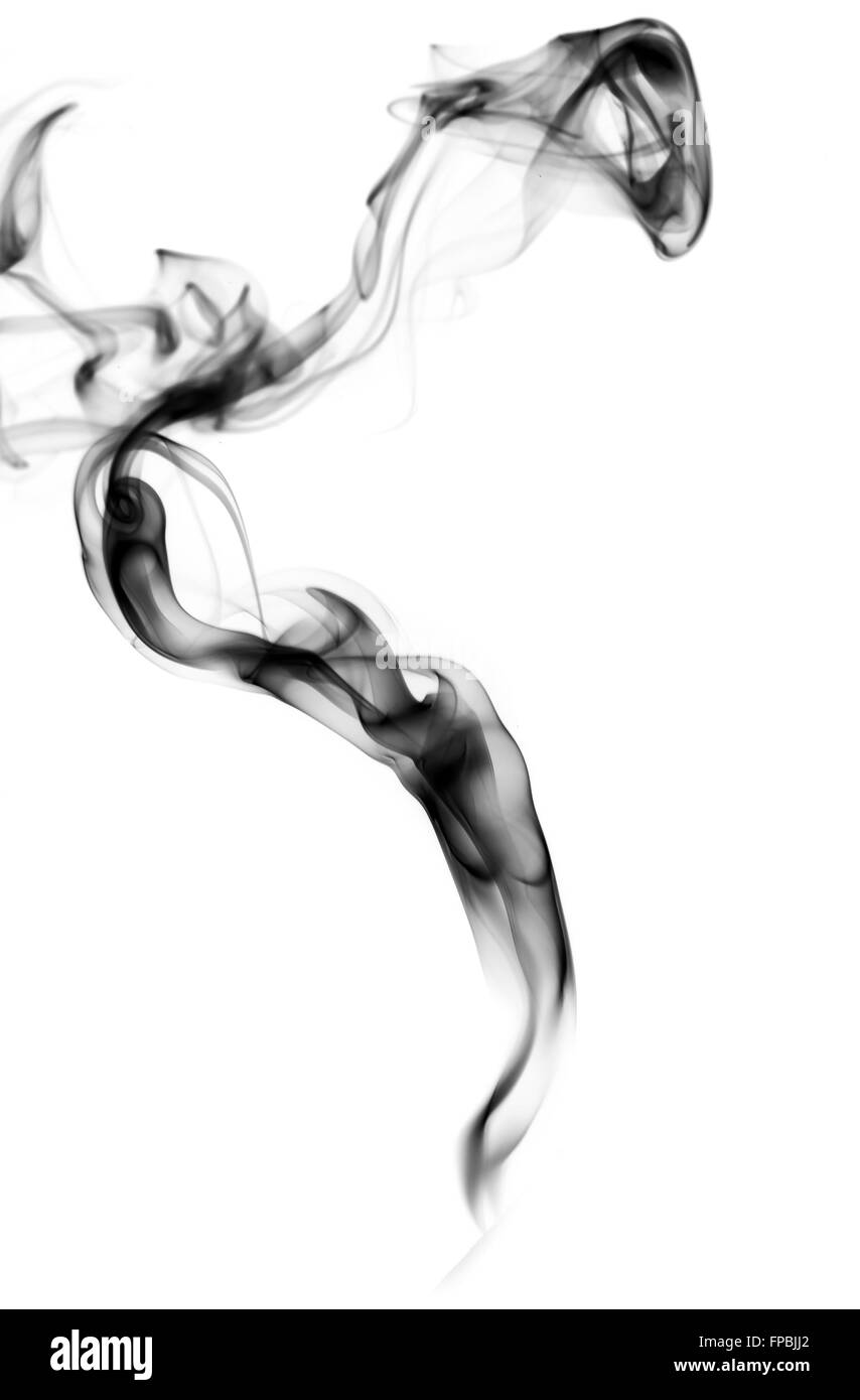 Abstract puff of black smoke over the white background - Stock Image