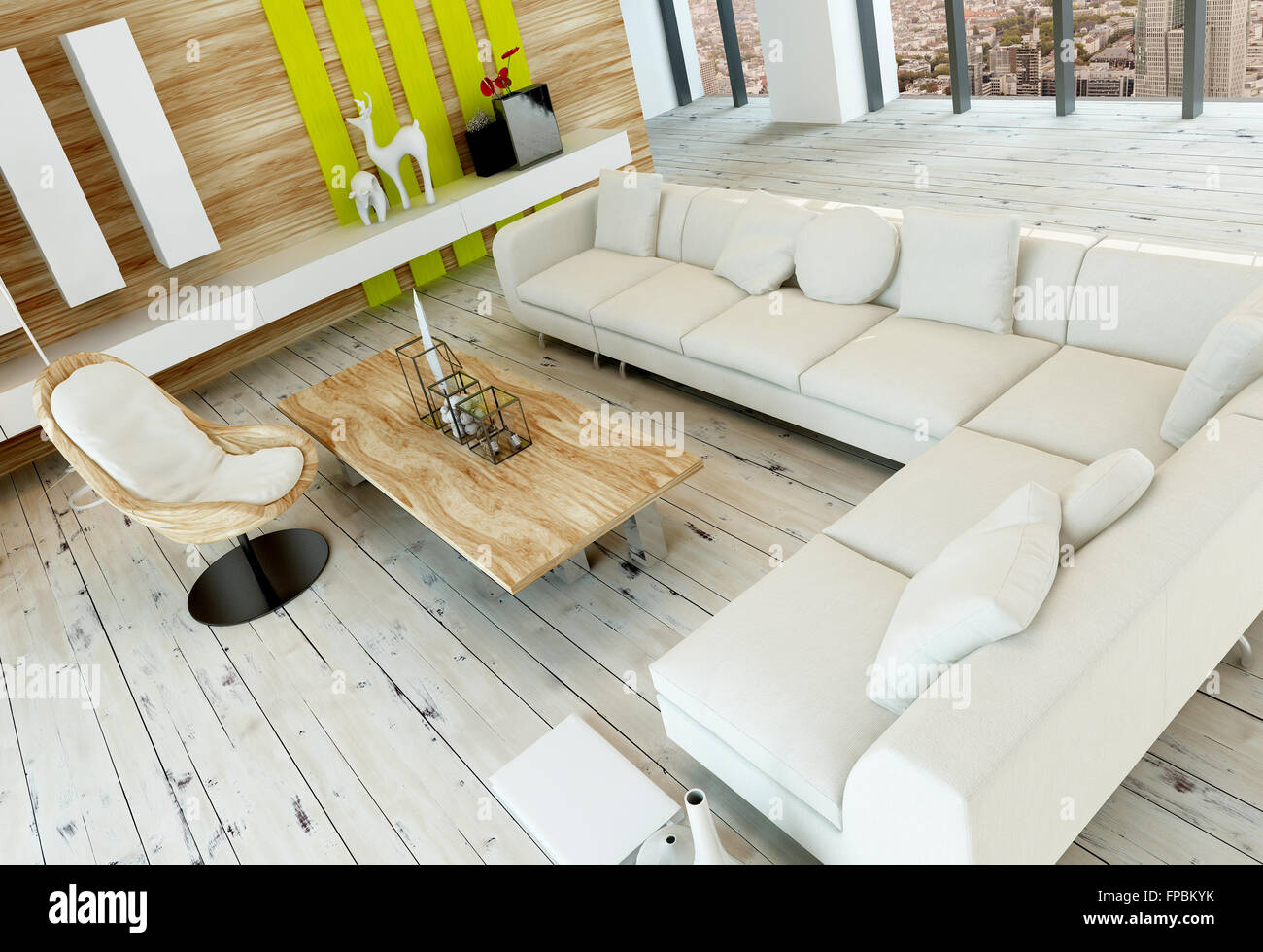High angle view of a rustic living room interior with white painted ...