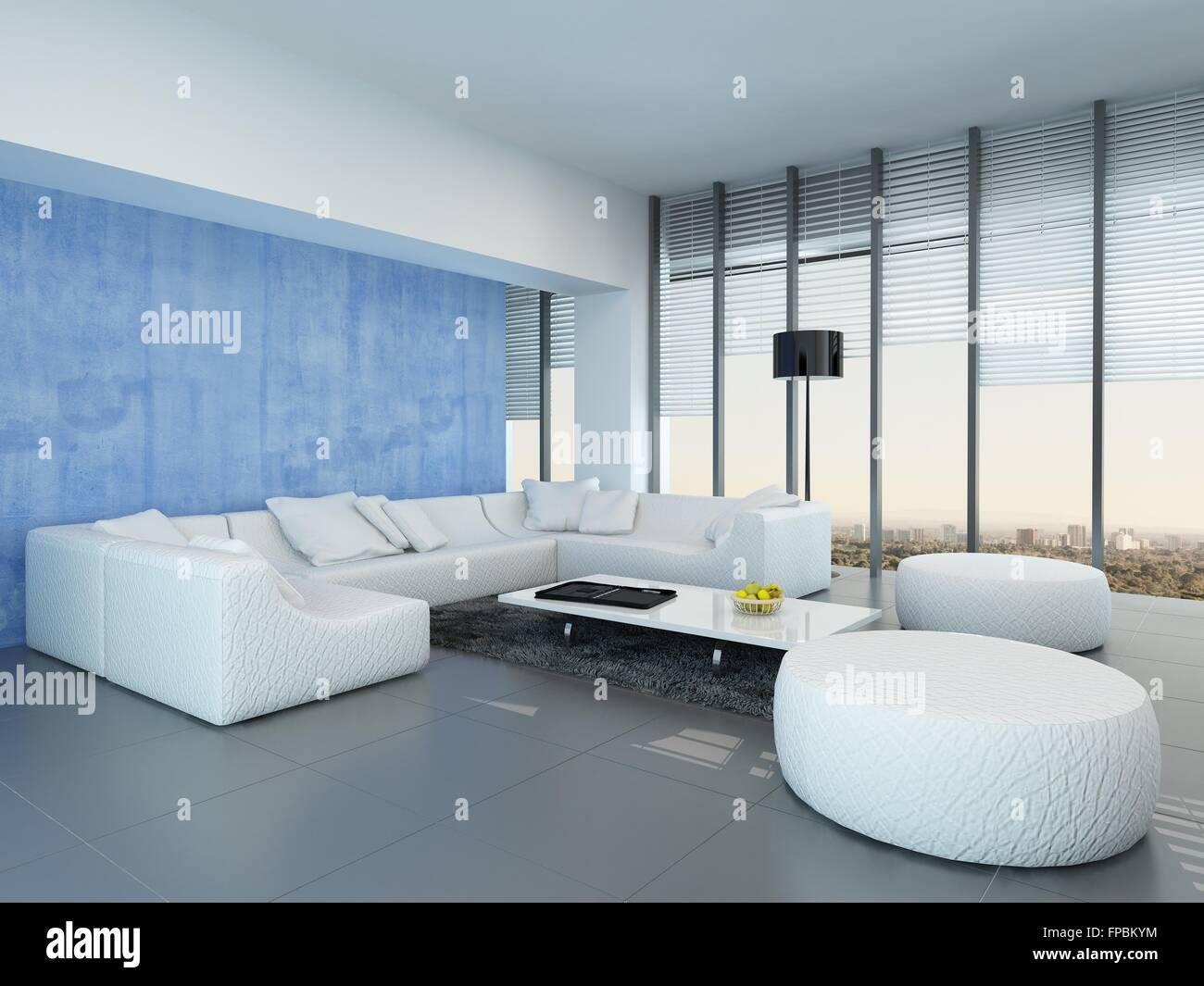 Contemporary Grey Blue And White Living Room Interior Decor