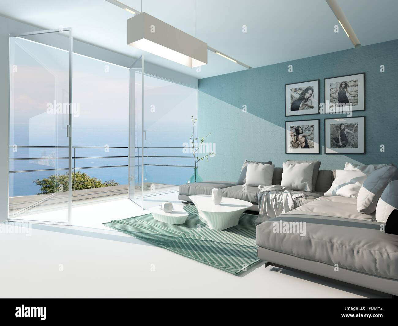 Luxury Waterfront Apartment Living Room With A Floor To Ceiling Glass  Window Overlooking The