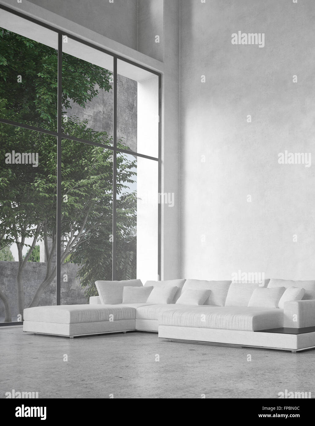 Large modern minimalist living room interior with a double ...