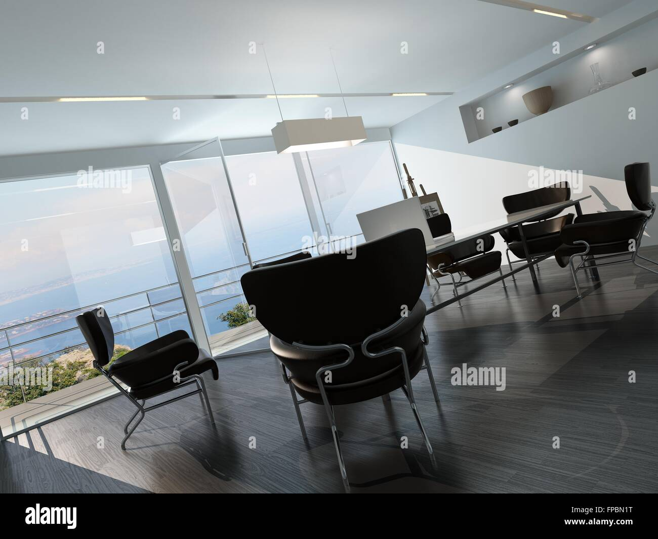 Contemporary Office Conference Room Interior With Scattered - Corner conference table