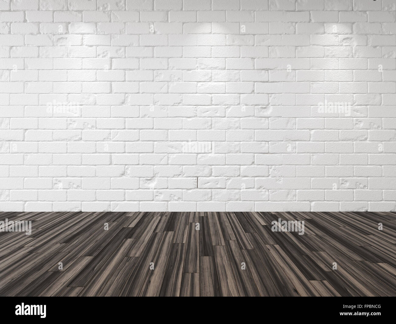 Empty whitewashed brick room with recessed down lights illuminating the brick wall and a hardwood parquet floor - Stock Image