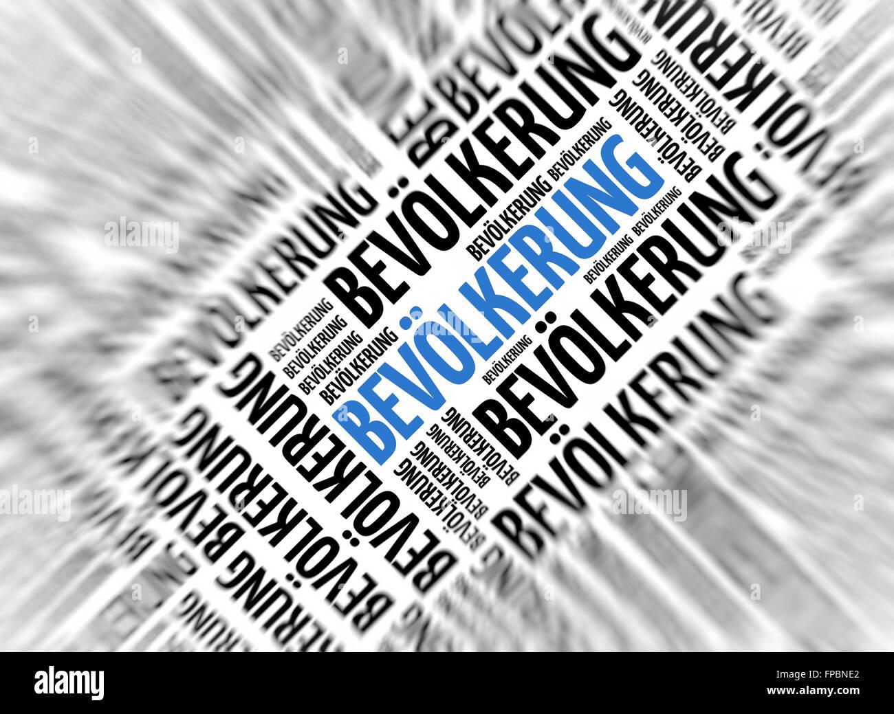 German marketing background - Bevölkerung (Population) - blur and focus Stock Photo
