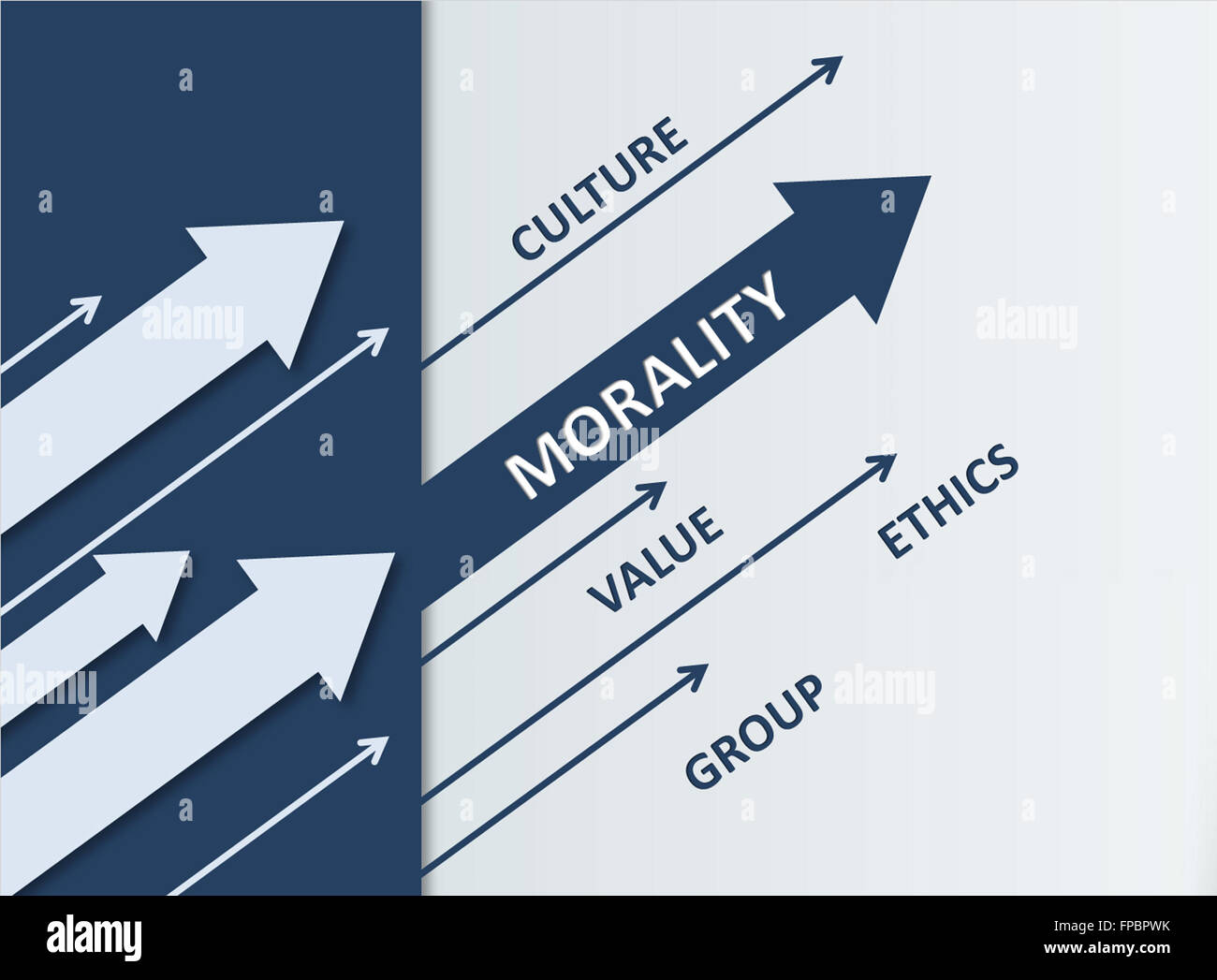 Morality Concept Design- Assorted Dark and Light Arrows Heading Upper Left with Culture, Value, Group and Ethics - Stock Image