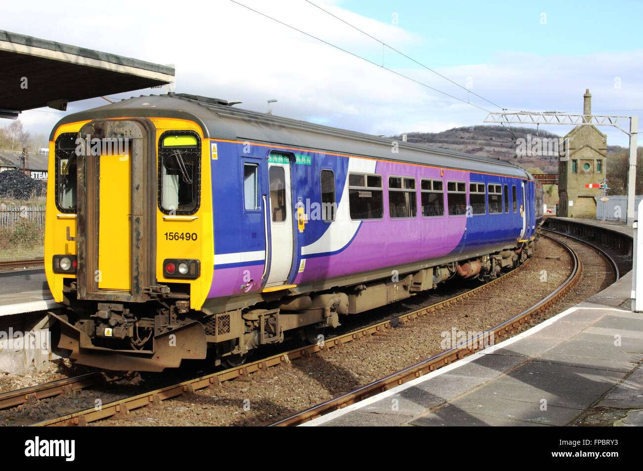 Class 156 diesel multiple unit in Northern livery without Northern branding ready for change of livery for new franchise. - Stock Image